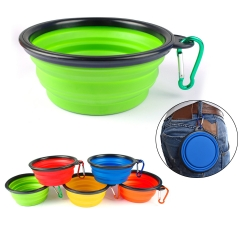 Silicone Pets Bowls with Metal Carabiner Clip