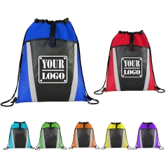 Nylon Drawstring Backpack w/Two-tone Color