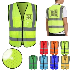 Reflective Safety Mesh Vest with Multi-Pockets