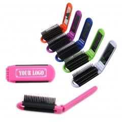 Compact Folding Hairbrush with Mirror