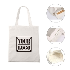 Zippered Cotton Canvas Tote Bag