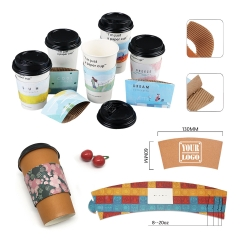 Full Color Print Adjustable Paper Cup Sleeve