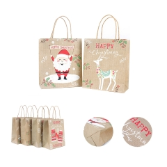 4 Pieces Holiday Kraft Shopping Bags